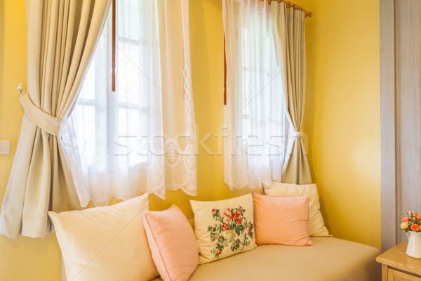 pillow on sofa and curtain in the room Stock photo © FrameAngel