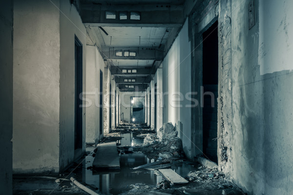 hallway walkway abandoned building can use horror movie scene ba Stock photo © FrameAngel