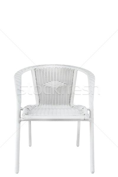 Krzesło plastikowe wiklina biały Zdjęcia stock © FrameAngel