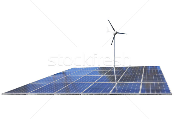 Solar cell Panels and wind turbine, produce power, green energy  Stock photo © FrameAngel