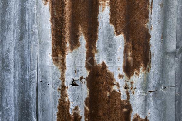 Rozsdás cink grunge öreg fal textúra Stock fotó © FrameAngel