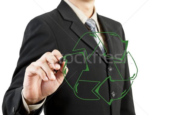 Hombre de negocios elaborar reciclar reciclaje signo nina Foto stock © FrameAngel