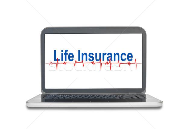 Laptop assicurazione sulla vita parola schermo display isolato Foto d'archivio © FrameAngel