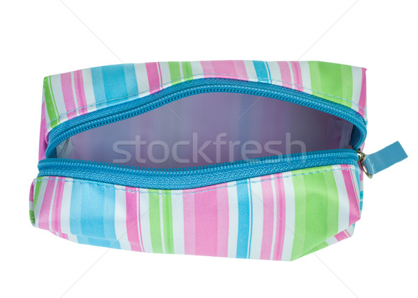 Stock photo: striped cosmetics bag open zip