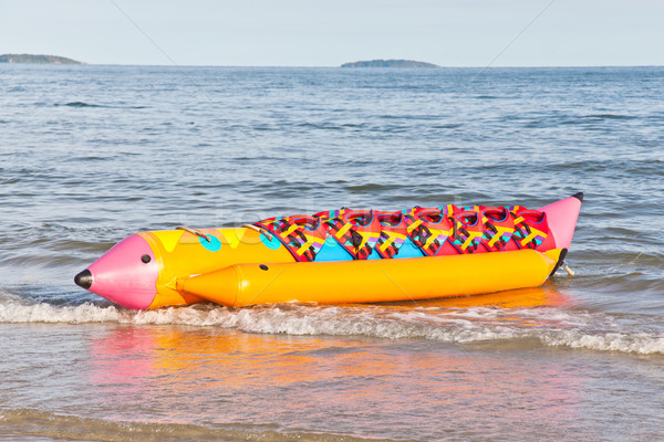 Stockfoto: Kleurrijk · banaan · boot · zwemvest · strand · gelukkig