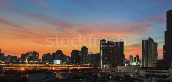 Business Building Bangkok city area at night life Stock photo © FrameAngel