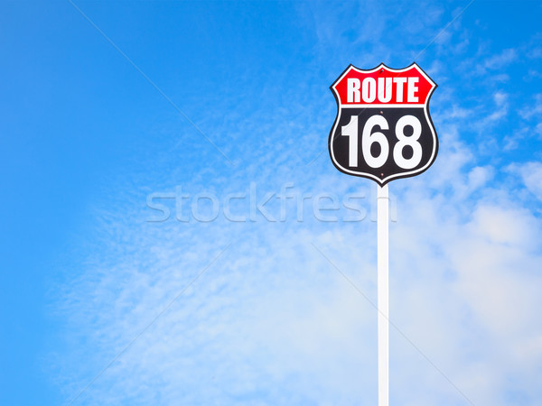 vintage route 168 road  sign and blue sky Stock photo © FrameAngel