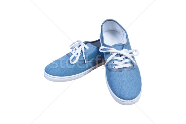 Pair sneakers, blue color isolated background Stock photo © FrameAngel