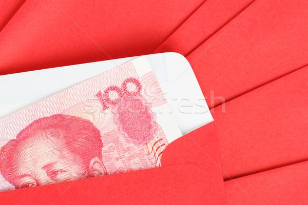 Chinese 100 bankbiljetten geld Rood envelop Stockfoto © FrameAngel