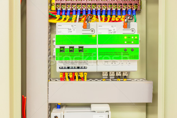Electrical panel line, controls and switches, safety concept Stock photo © FrameAngel