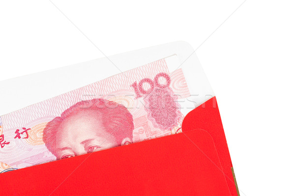 Chinese or 100 Yuan banknotes money in red envelope, as chinese  Stock photo © FrameAngel