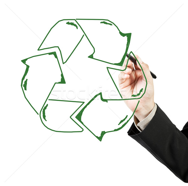 Business man draw recycle recycling sign Stock photo © FrameAngel