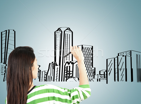 woman draw building and cityscape  Stock photo © FrameAngel
