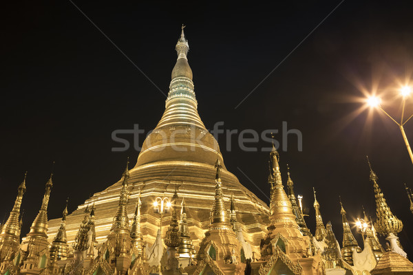 Shwedagon pagoda in Yangon, Burma (Myanmar) at night Stock photo © FrameAngel