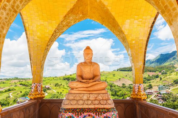 Buda görüntü mavi gökyüzü tapınak yer bana Stok fotoğraf © FrameAngel