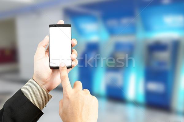 Strony smartphone transfer bankowego rozmycie Zdjęcia stock © FrameAngel