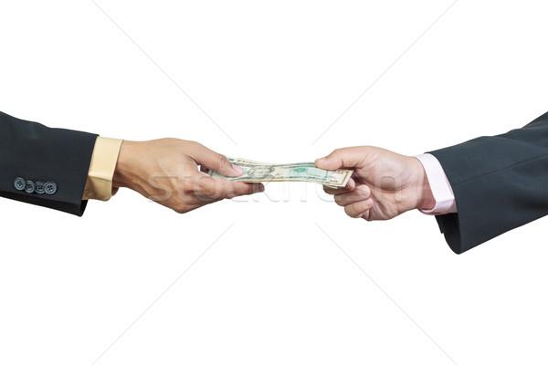 Zakenman hand geld ander corruptie witte Stockfoto © FrameAngel