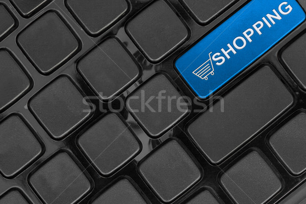 Stock photo: keyboard close up,top view, shopping online concept word