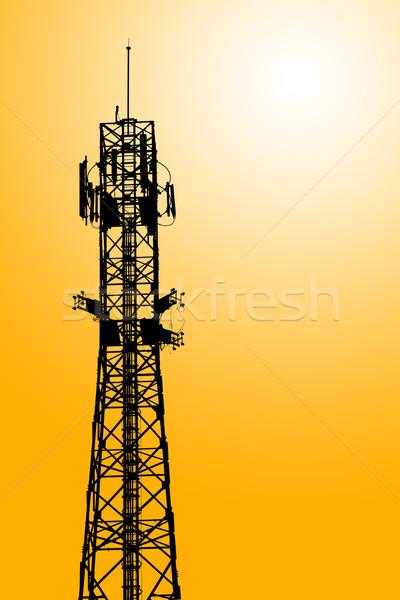 Cep telefonu iletişim anten kule siluet televizyon Stok fotoğraf © FrameAngel