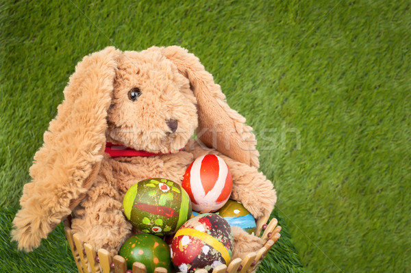 Rabbit, sit and holding empty basket on grass for happy easter e Stock photo © FrameAngel