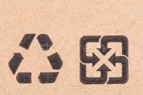 recycling green dot symbol fragile on cardboard box Stock photo © FrameAngel