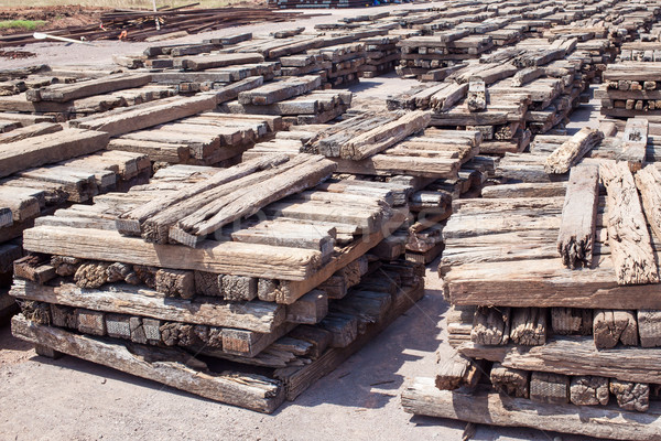 stack of chock wood for train, construction site Stock photo © FrameAngel