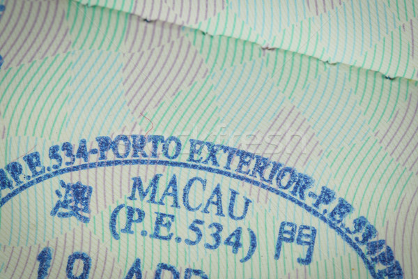 admitted stamp of macau Visa for immigration travel concept Stock photo © FrameAngel
