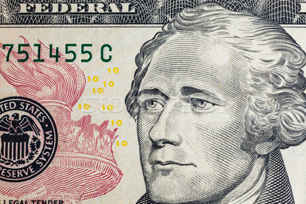 'Alexander Hamilton' face on US ten or 10 dollars bill macro, un Stock photo © FrameAngel