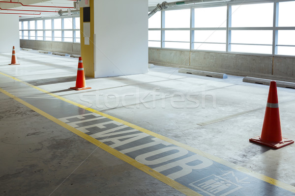 Empty car parking line and red cone with walk way, can use as ba Stock photo © FrameAngel