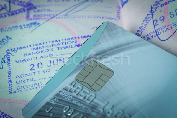 credit cards with sim and passport stamp for travel concept back Stock photo © FrameAngel