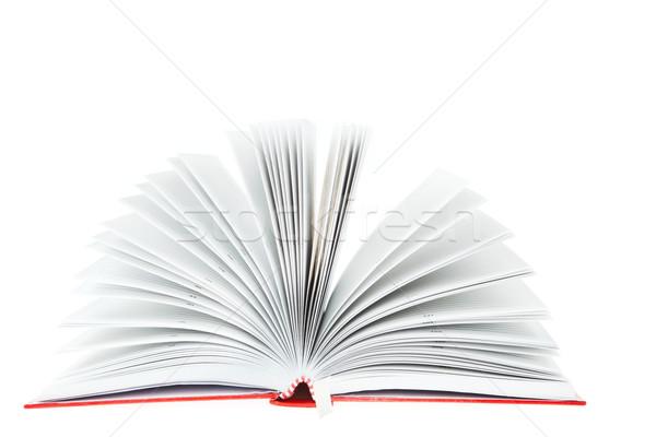Foto stock: Abrir · vermelho · livro · branco · papel · estudante