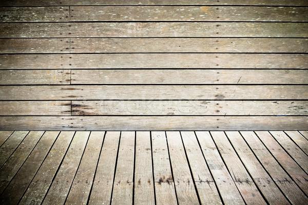 Stok fotoğraf: Duvar · zemin · yıpranmış · ahşap · doku · karanlık