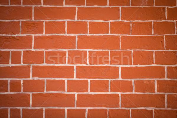 ストックフォト: レンガの壁 · オレンジ · 建物 · 壁 · 抽象的な · 塗料