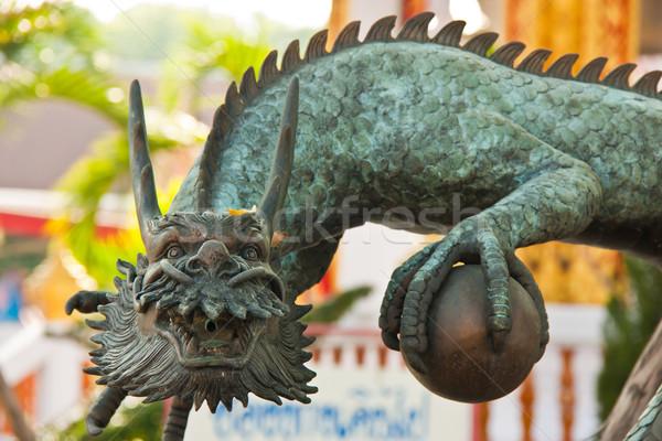 дракон скульптуры древесины путешествия Живопись золото Сток-фото © FrameAngel