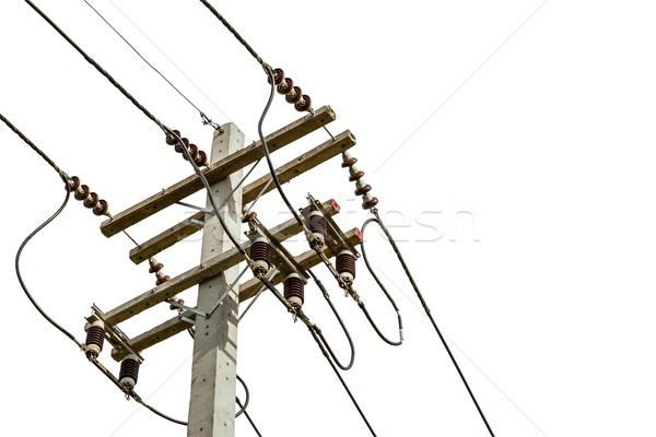 Сток-фото: проволоки · кабелей · электроэнергии · полюс · город · безопасности