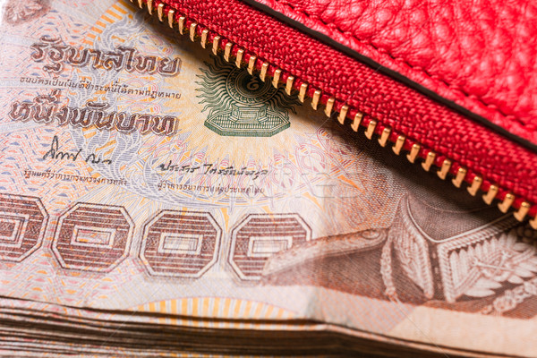 red leather wallet with thai banknote money, close up Stock photo © FrameAngel