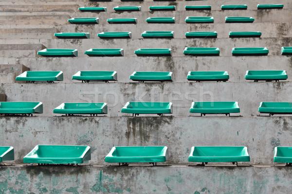 old plastic blue seats on stadium Stock photo © FrameAngel