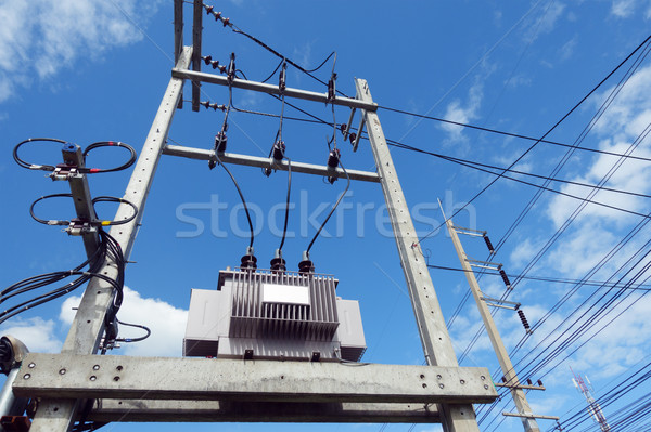 high voltage transformers with power lines and blue sky backgrou Stock photo © FrameAngel