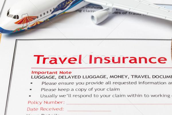Podróży ubezpieczenia dochodzić aplikacja formularza brązowy Zdjęcia stock © FrameAngel