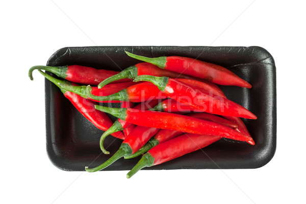 Red chili peppers  in Styrofoam Food Tray Stock photo © FrameAngel