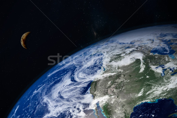 planet Earth and moon Stock photo © FrameAngel