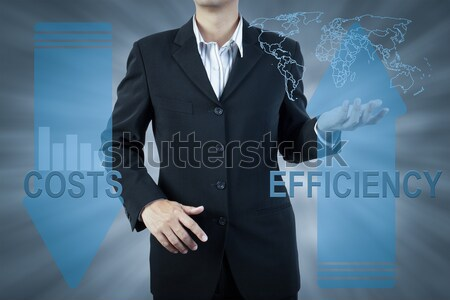 business man standing and presents cost and adoption, finance te Stock photo © FrameAngel