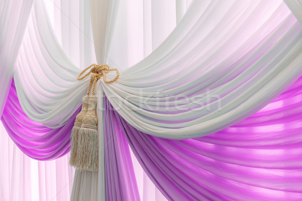 Luxury sweet white and violet curtain and tassel Stock photo © FrameAngel