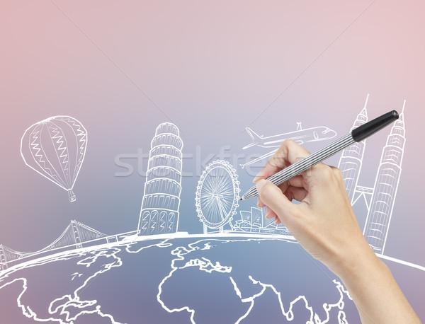 стороны рисунок мечта путешествия вокруг Мир Сток-фото © FrameAngel