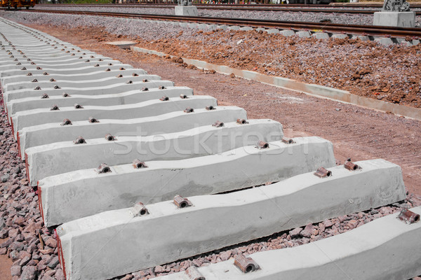 Railroad track in railway for train, construction site Stock photo © FrameAngel