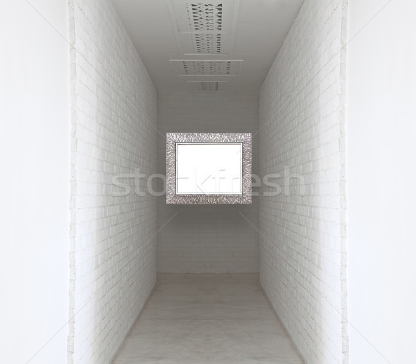 Picture flame on white brick wall and walk way Stock photo © FrameAngel