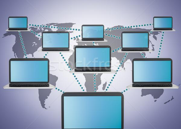 Social media marketing laptop netwerk internet ontwerp Stockfoto © FrameAngel