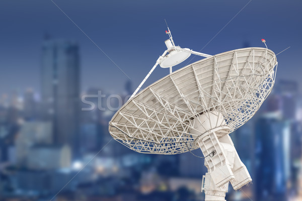 satellite dish antenna radar and building background Stock photo © FrameAngel