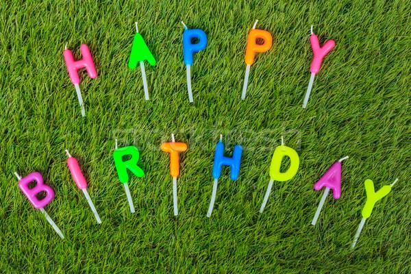 Colorido feliz cumpleaños velas campo fiesta feliz Foto stock © FrameAngel