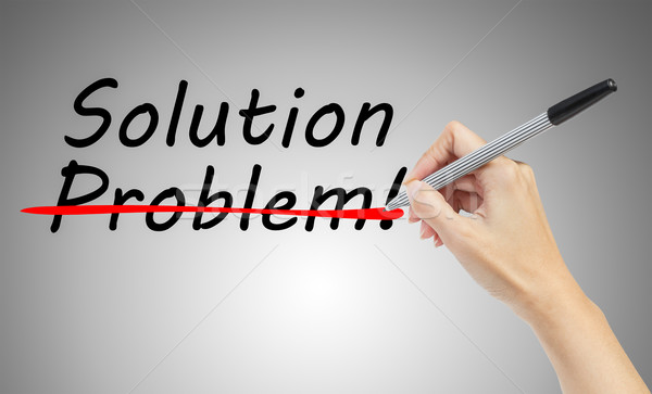 hand drawing and crossing out problem and finding the solution,  Stock photo © FrameAngel